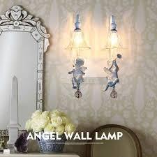 Double Head Nordic Kids Room Bedroom Wall Light American Simple Mirror Headlights European Bedside Living Room Angel Wall Lamp Online