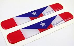 Puerto Rico Flag Domed Decal Emblem Resin Car Stickers 5 X 0 82 2pc Car Chrome Decals