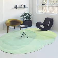 post modern green color living room rug