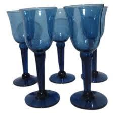 hand blown long stemmed wine glasses