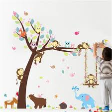 Forest Animals Tree Wall Stickers For Kids Room Monkey Bear Jungle Wild Children Wall Decal Nursery Bedroom Decor Poster Mural Stickers Wallpaper Stickers Walls From Cnshoppingmall06 4 64 Dhgate Com