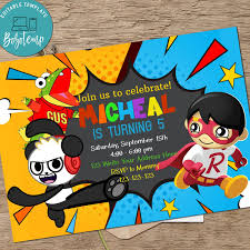 Ryan S World Birthday Invitation Printable Con Imagenes Invitaciones De Cumpleanos Cumpleanos Invitaciones