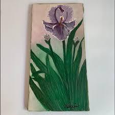 Wall Art Iris Flower Painting On Canvas Poshmark
