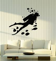 Amazon Com Vinyl Wall Decal Scuba Diving Diver Fishes Bubbles Underwater Bathroom Stickers Mural Large Decor Ig5090 Black Kitchen Dining