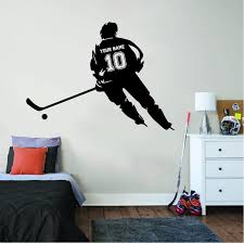 Hockey Player Name And Number Wall Sticker In 2020 Sports Wall Decals Hockey Wall Stickers Room