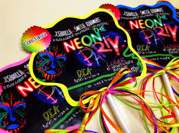 Layout Neon Party Neon Party Cards Tarjetas De Fiesta Fiestas
