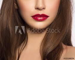 lips with pink shiny lipstick