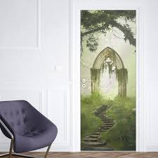 3d Door Sticker Forest Wall Mural Art Magic Castle Wallpaper Poster Stickers Self Adhesive Removable Home Door Decals Aliexpress Com Imall Com