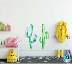 Cactus Wall Decal Set Set Of 2 Watercolor Cactus Wall Sticker Removable Vinyl Ebay
