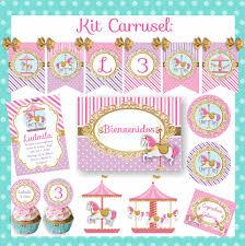 Kit Cumpleanos Carrusel Calesita Nena Invitaciones Candy Bar 10 000 En Mercado Libre