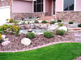 stone patio front house gardening ideas