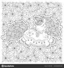 Unicorn Magische Dieren Zwart Wit Boek Kleurplaat Voor Volwassenen
