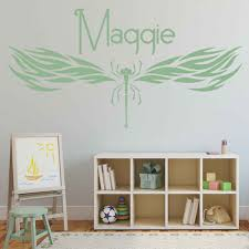 Dragonfly Vinyl Wall Sticker For Baby Room Insect Decor Personalised Name Wall Decal For Bedroom Girls Room Decoration W960 Wall Stickers Aliexpress