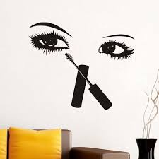 Removable Eyelashes Girl Mural Wall Sticker Decal Wallpaper Diy Home Room Decor