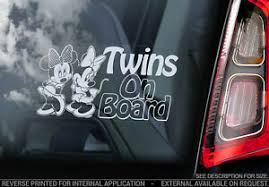 Twins On Board Car Window Sticker Minnie Mouse Decal Sisters Girl Child V02 Ebay