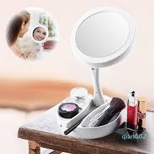 led lighted folding makeup mirror