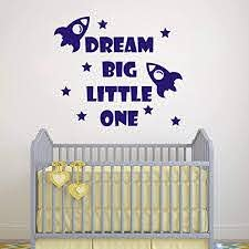 Amazon Com Quote Wall Decal Dream Big Little One Decal Baby Room Decor Rocket Decal Baby Boy Room Decor Space Wall Decal Nursery Wall Decals Y41 Blue Home Kitchen
