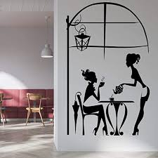 Amazon Com Vodoe Coffee Wall Decals Pub Wall Decal Cafe Restaurant Kitchen Bar Waiter Customer Life Leisure Scene Stickers Suitable For Family Living Room Vinyl Art Home Decor Black 16 X 25 Inches Home