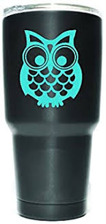 Amazon Com Kcd Cute Owl Vinyl Decals Stickers 2 Pack Yeti Tumbler Cup Ozark Trail Rtic Orca Decals Only Cup Not Included 2 3 X 2 5 In Light Blue Kcd1076lbl Automotive