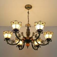 vintage stained glass shade chandelier