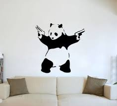 Amazon Com Large Banksy Graffiti Panda Guns Wall Art Vinyl Decal Sticker 14 Colours Available Home Kitchen
