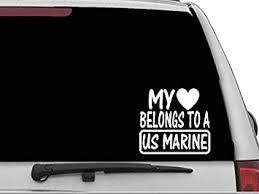 Amazon Com Decal Dan My Heart Belongs To A Us Marine Vinyl Car Truck Window Laptop Sticker Automotive