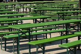 beer garden benches and tables stock