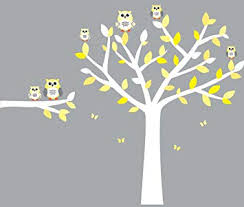 Amazon Com Owl Wall Decals Nursery Room Wall Decals Yellow And Gray Vinyl Tree Baby