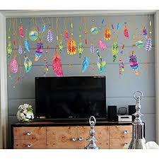 Kaimao Colorful Creative Dream Catcher Feathers Wall Stickers Art Decal Murals Removable Wallpapers For Home Decor Feather Wall Home Wallpaper Sticker Wall Art