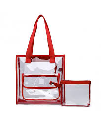 two piece clear bag set tote and pouch