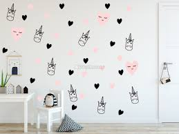 Pink Unicorn And Little Hearts Wall Decal Sticker Wall Decals Wallmur
