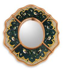 reverse painted glass wall mirror