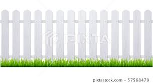 White Fence With Grass Wooden Picket Stock Illustration 57568479 Pixta