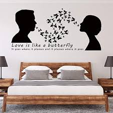 Amazon Com Vodoe Butterfly Wall Decals Inspirational Wall Decals Love Girl Personalized Loved Romantic Sayings Stickers Suitable For Family Living Room Vinyl Art Home Decor Black 33 4 X 15 7 Inches Home Kitchen