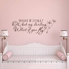 Amazon Com What If I Fall Oh My Darling What If You Fly Wall Decal Quote Nursery Decor Inspirational Quote Bedroom Decor Wall Decal Girls Room Home Kitchen