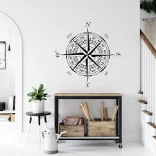 Compass Wall Decal Nautical Decor Navigational Compass Etsy In 2020 Wall Decals Removable Wall Decals Nautical Decor