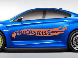 Large Hot Rod Hot Wheels Flames Car Body Vinyl Decals 2 Pieces Pastel Orange Vinyl Decals Hot Wheels Hot Rods
