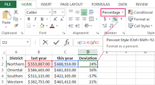 the percentage of deviation in excel