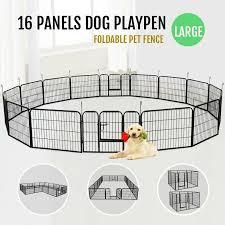 Yaheetech 16 Panels Playpen Large Barrier Metal Dog Pen Reviews Wayfair