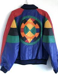 90s color block leather jacket for
