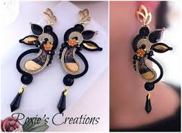 gold soutache with crystal pendant