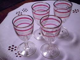 port sherry glasses striped ruby gold
