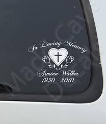 In Loving Memory Of Cross Heart Roses Car Laptop Decal