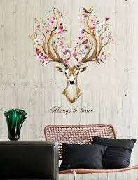 Diy Animal Bird Sika Deer Head Flowers Wall Stickers Living Room Bedroom Art Vinyl Wall Decals Kids Baby Home Decor Poster Wall Stickers Aliexpress