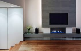 modern fireplace with integrated