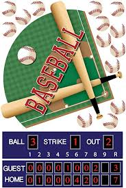 Amazon Com Baseball Decals Large Baseball Diamond Wall Decals With Scoreboard And Baseballs Repositionable Peel And Stick Home Kitchen