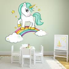 Sparkle Unicorn Clouds Rainbow Wall Decal Sticker Ws 46037 Ebay