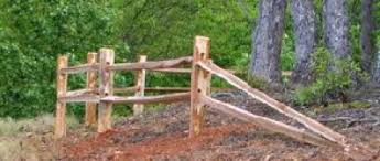 3 Tall 2 Rail Cedar Split Fence At Property Boundry Corner Chickenhouses Modern Design In 2020 Corner Landscaping Fence Landscaping Outdoor Gardens