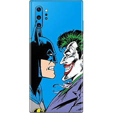Amazon Com Skinit Decal Phone Skin Compatible With Galaxy Note 10 Plus Officially Licensed Warner Bros Batman Vs Joker Blue Background Design Electronics