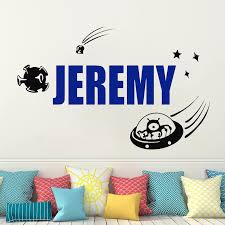 Vinyl Custom Name Wall Sticker For Kids Room Decoration Alien Invasion Wall Decal Space Wall Sticker Ufo Decals For Boy Hy963 Wall Stickers Aliexpress